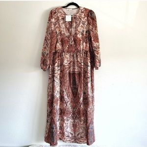 Free People Home Made Brown paisley maxi dress